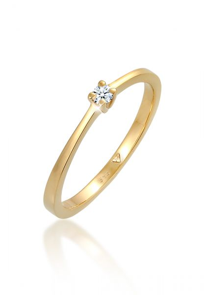 Solitär-Ring | Diamant ( Weiß, 0,11 ct ) | 585 Gelbgold
