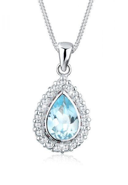 Halskette | Topas ( Blau ) | 925er Sterling Silber