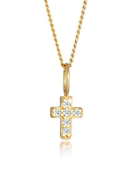 Halskette Kreuz   Diamant ( Weiß, 0,03 ct )   585 Gelbgold