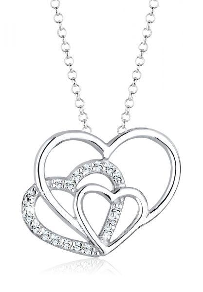 Elli Halskette 3-Faches Herz Kristalle 925 Silber