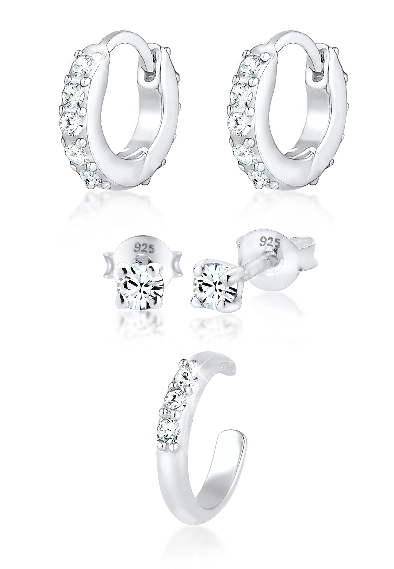 Ohrringset | Kristall ( Weiß ) | 925er Sterling Silber