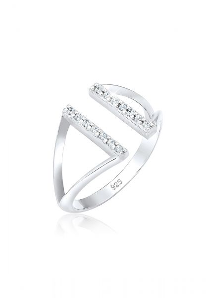 Elli Ring Geo Resize Offen Kristalle 925 Silber