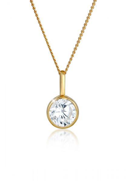 Elli PREMIUM Halskette Solitär Zirkonia 585 Gelbgold