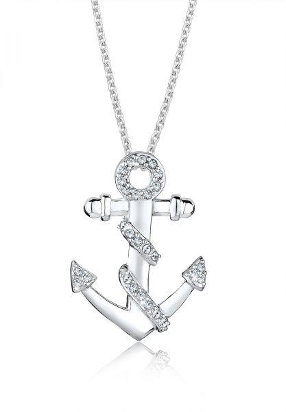 Halskette Anker | Kristall ( Weiß ) | 925er Sterling Silber