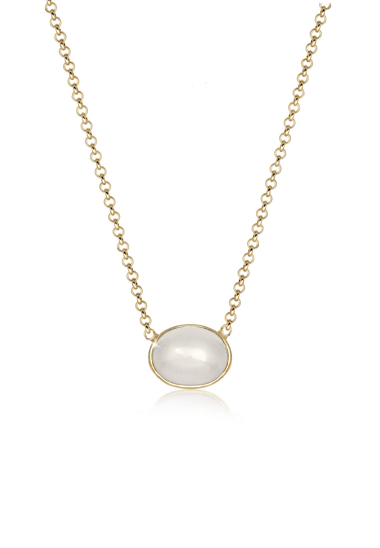 Halskette Astro   Mondstein ( Weiß )   925 Sterling Silber vergoldet