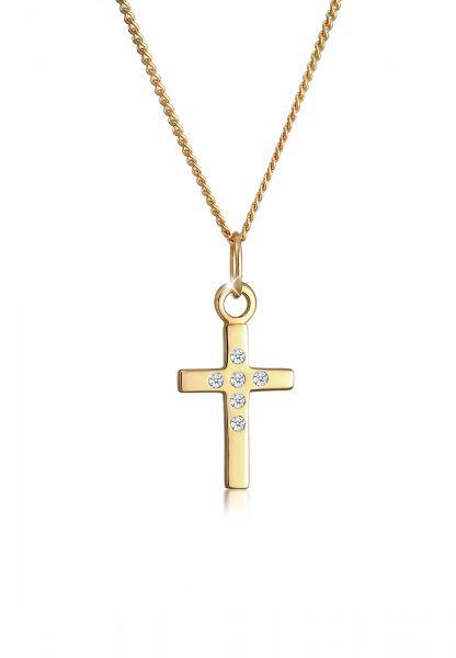 Halskette Kreuz | Diamant ( Weiß, 0,03 ct ) | 585 Gelbgold