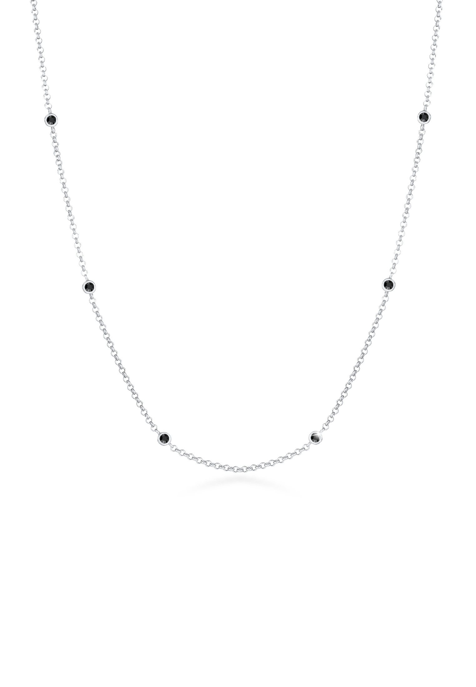 Halskette | Kristall ( Schwarz ) | 925er Sterling Silber