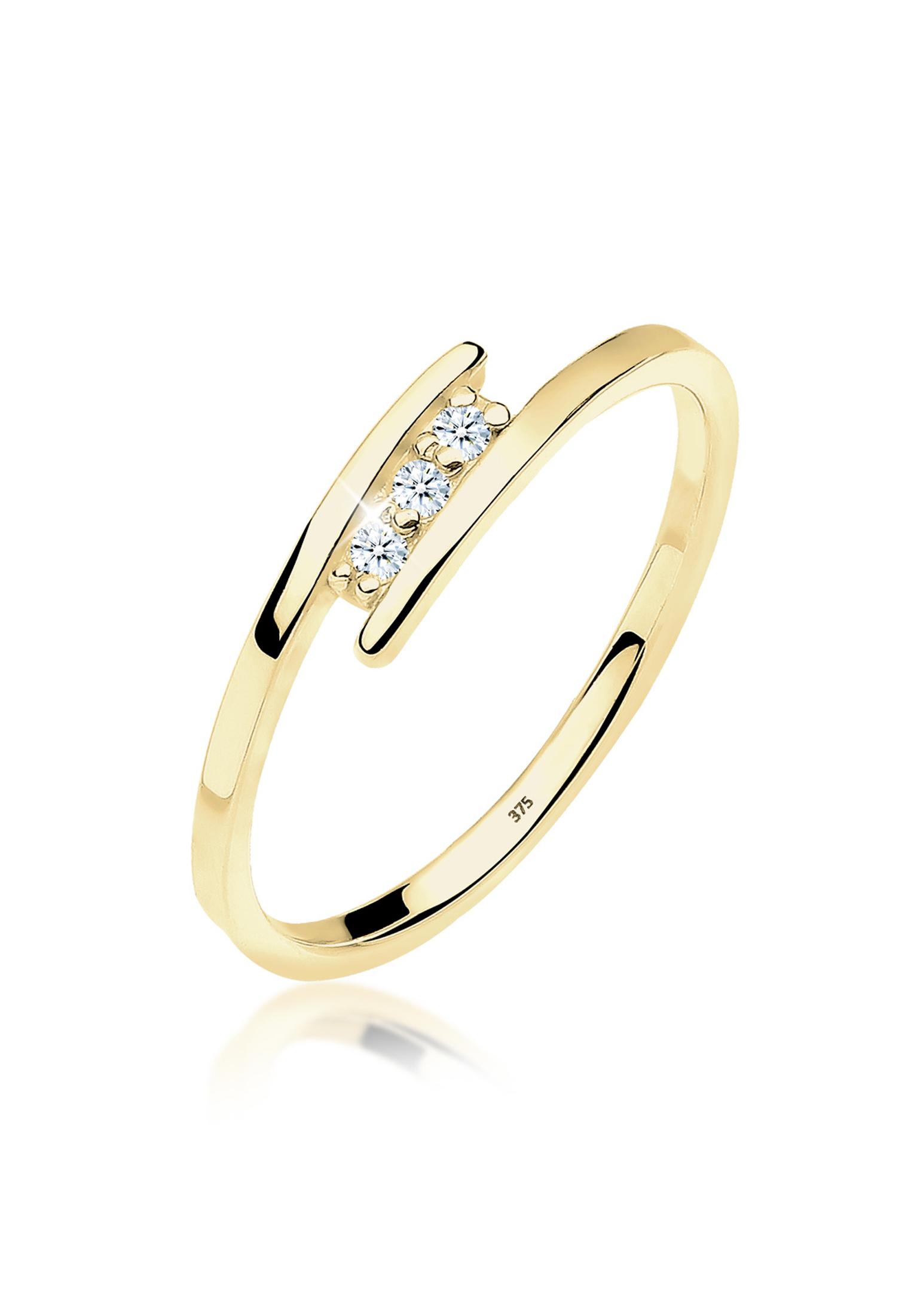 Solitär-Ring   Diamant ( Weiß, 0,045 ct )   375 Gelbgold