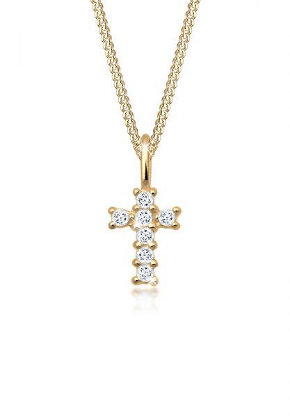 Halskette Kreuz   Topas ( Weiß )   585 Gelbgold