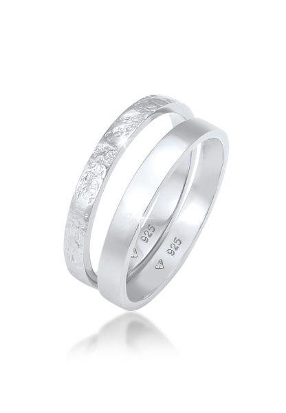 Elli Ring 2er Set Bandring Basic Organic-Look 925 Silber