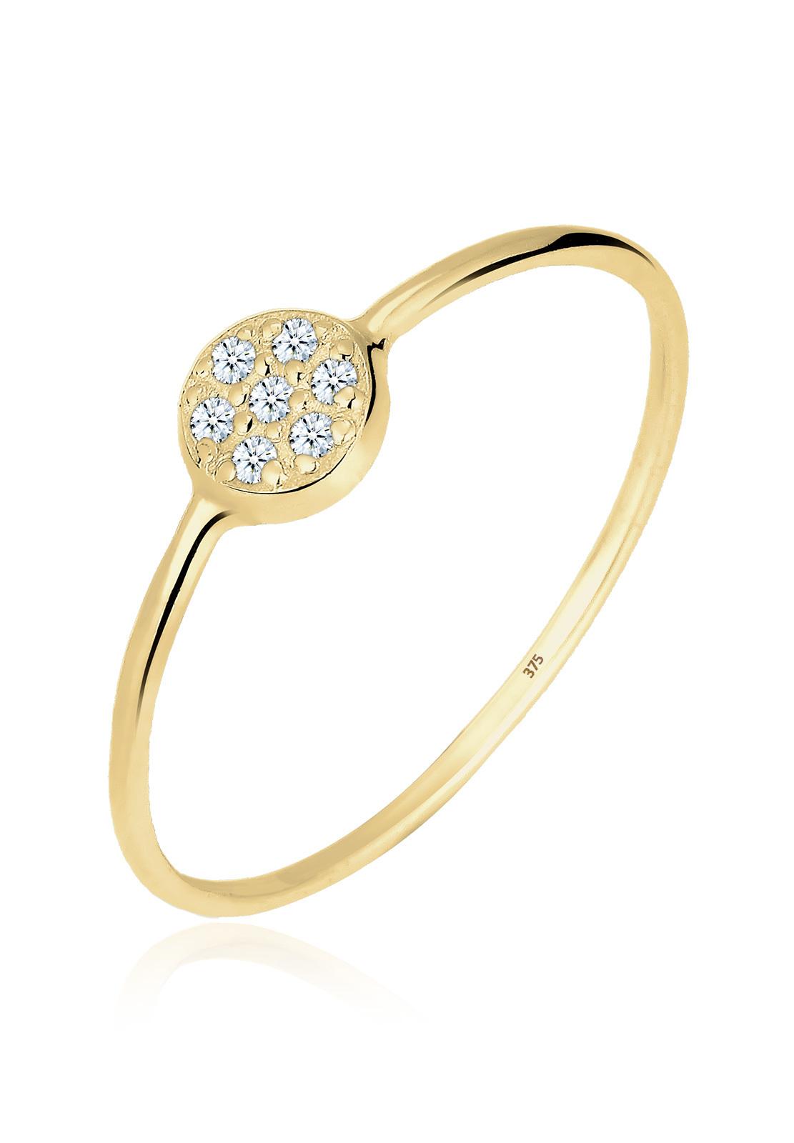 Verlobungsring Kreis | Diamant ( Weiß, 0,035 ct ) | 375 Gelbgold