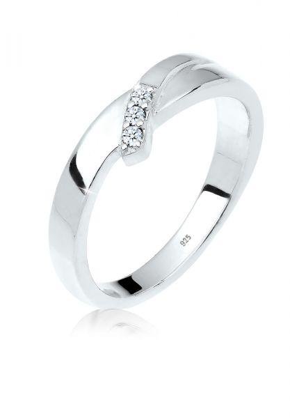 DIAMORE Ring Verlobung Trio Diamant (0.04 ct.) 925 Silber