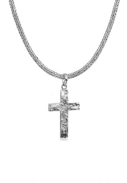 Schlangen-Halskette Kreuz | 925er Sterling Silber