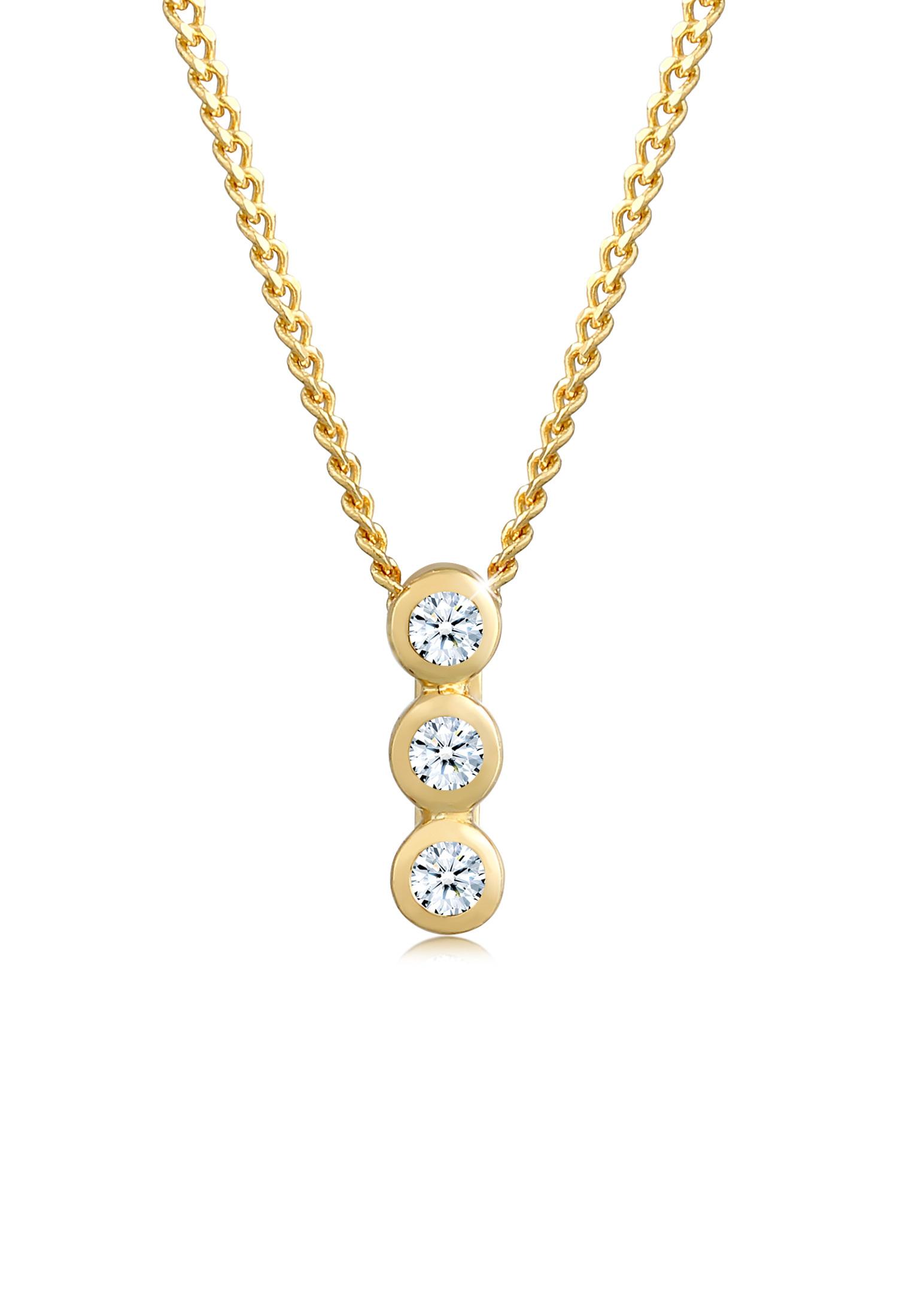 Halskette Geo | Diamant ( Weiß, 0,045 ct ) | 585 Gelbgold