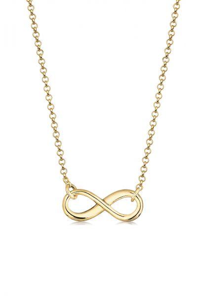Elli PREMIUM Halskette Infinity Unendlichkeit Symbol 375 Gelbgold