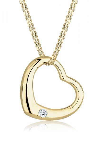 DIAMORE Halskette Herz Love Diamant (0.03 ct.) 375 Gelbgold