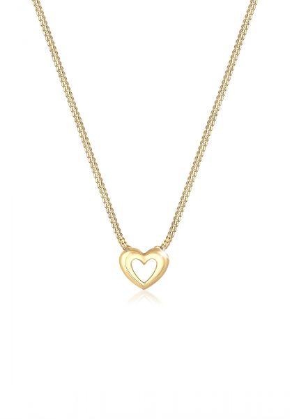 Elli PREMIUM Halskette Panzerkette Herz Anhänger Romantisch 585 Gelbgold
