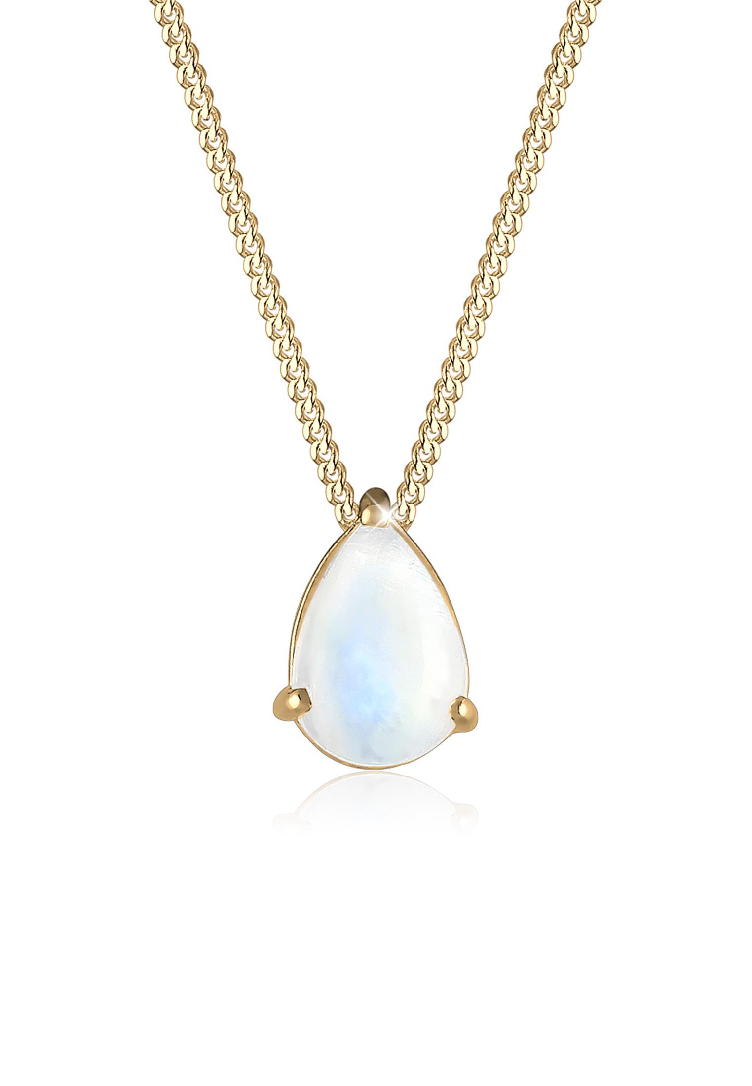 Halskette   Mondstein ( Weiß )   925 Sterling Silber vergoldet