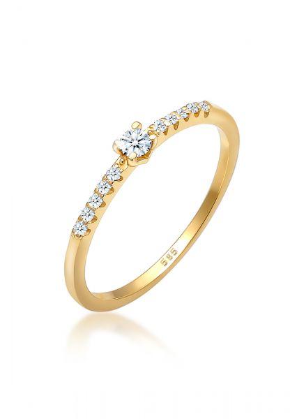 Verlobungsring   Diamant ( Weiß, 0,11 ct )   585 Gelbgold