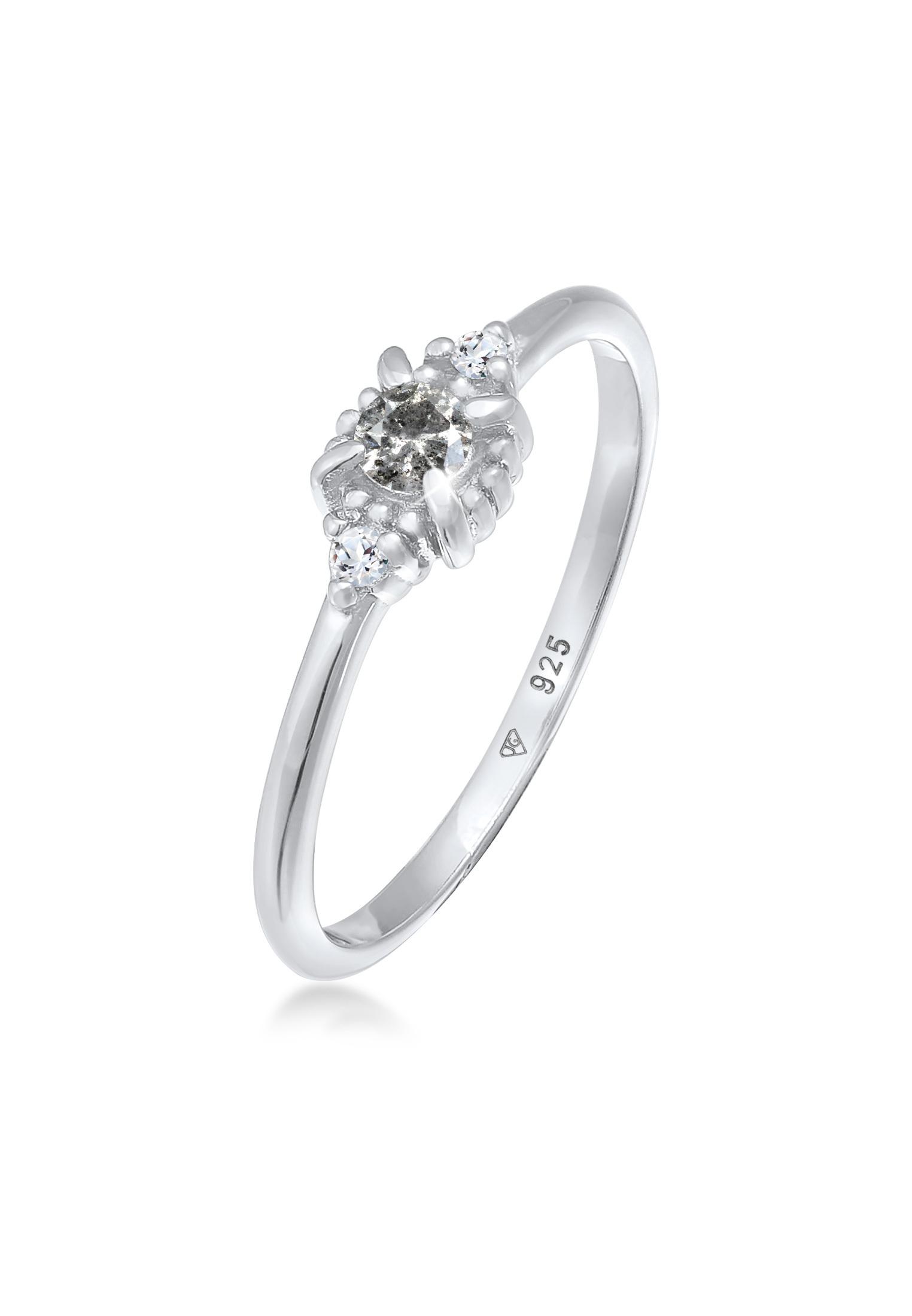 Verlobungsring | Salt & Pepper Diamant (0.11 ct.), Topas (weiß) | 925er Sterling Silber