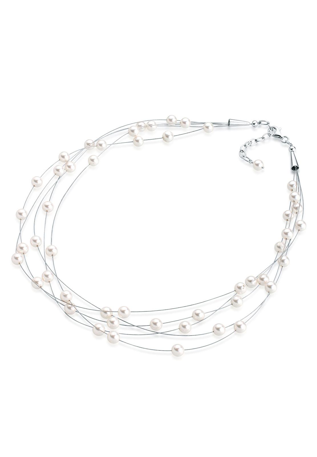 Glieder-Halskette   Perle   925er Sterling Silber