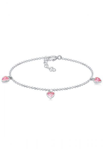 Armband Herz   Zirkonia ( Pink )   925er Sterling Silber