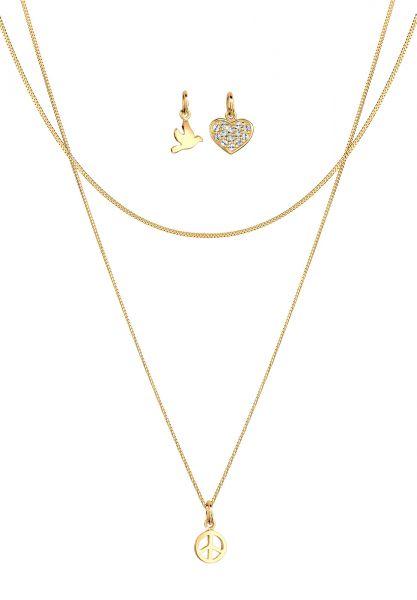 Halskettenset Herz | Kristall ( Weiß ) | 925 Sterling Silber vergoldet