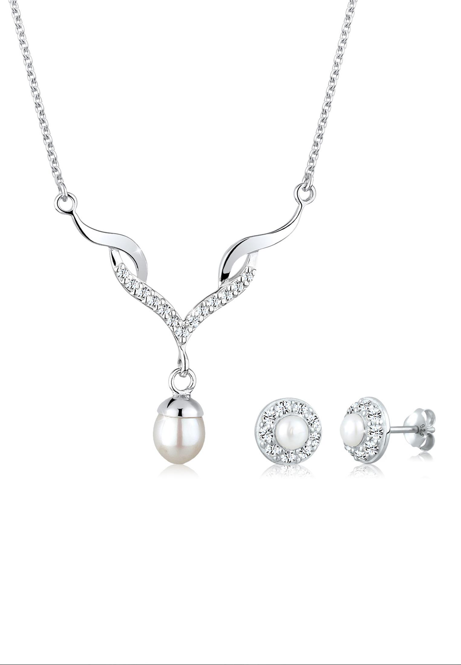 Schmuckset | Süßwasserperle, Kristall ( Weiß ) | 925er Sterling Silber