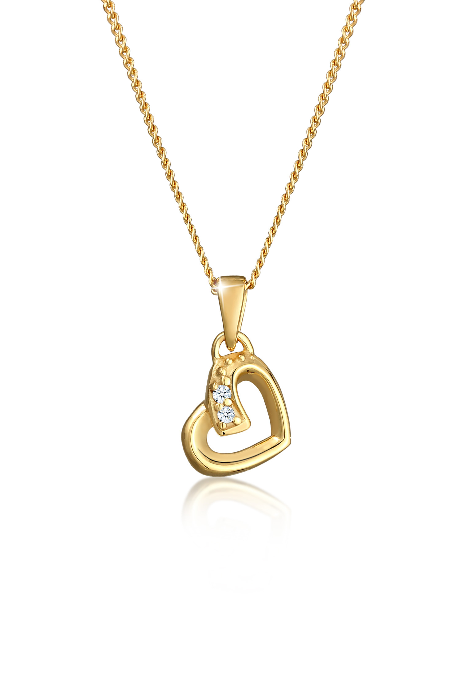 Halskette Herz   Diamant ( Weiß, 0,01 ct )   585 Gelbgold