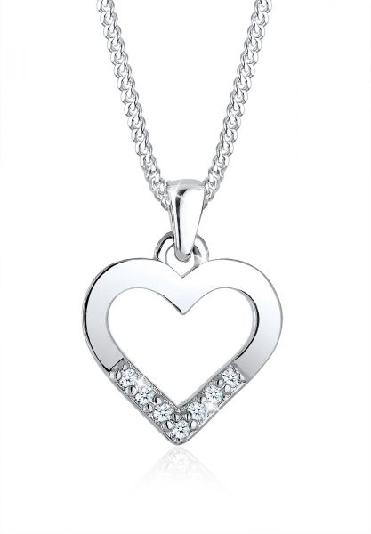 Halskette Herz | Diamant ( Weiß, 0,035 ct ) | 925er Sterling Silber