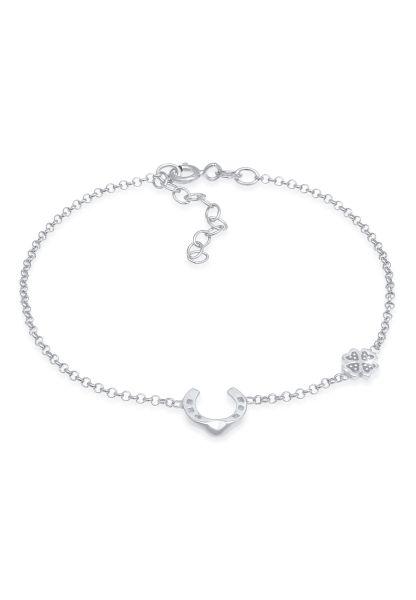 Nenalina Armband Hufeisen Kleeblatt Glück Emaille 925 Silber