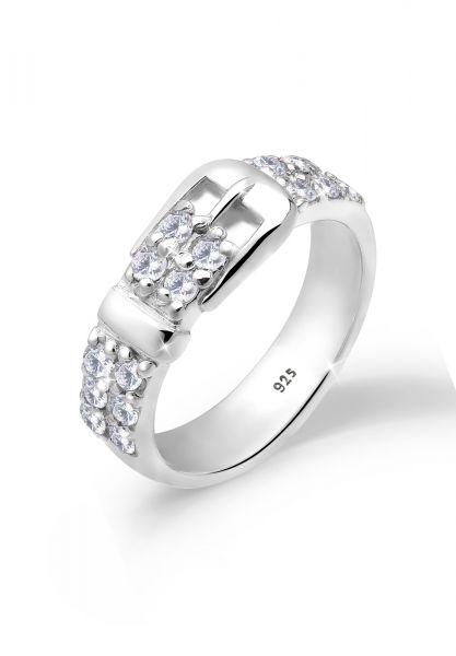 Ring Gürtel | Zirkonia ( Weiß ) | 925er Sterling Silber