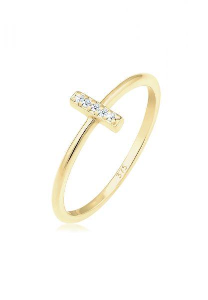 Ring Kreuz   Diamant ( Weiß, 0,025 ct )   375 Gelbgold