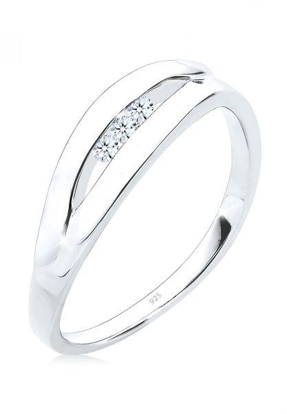 DIAMORE Ring Klassisch Trio Diamant (0.09 ct.) 925 Silber