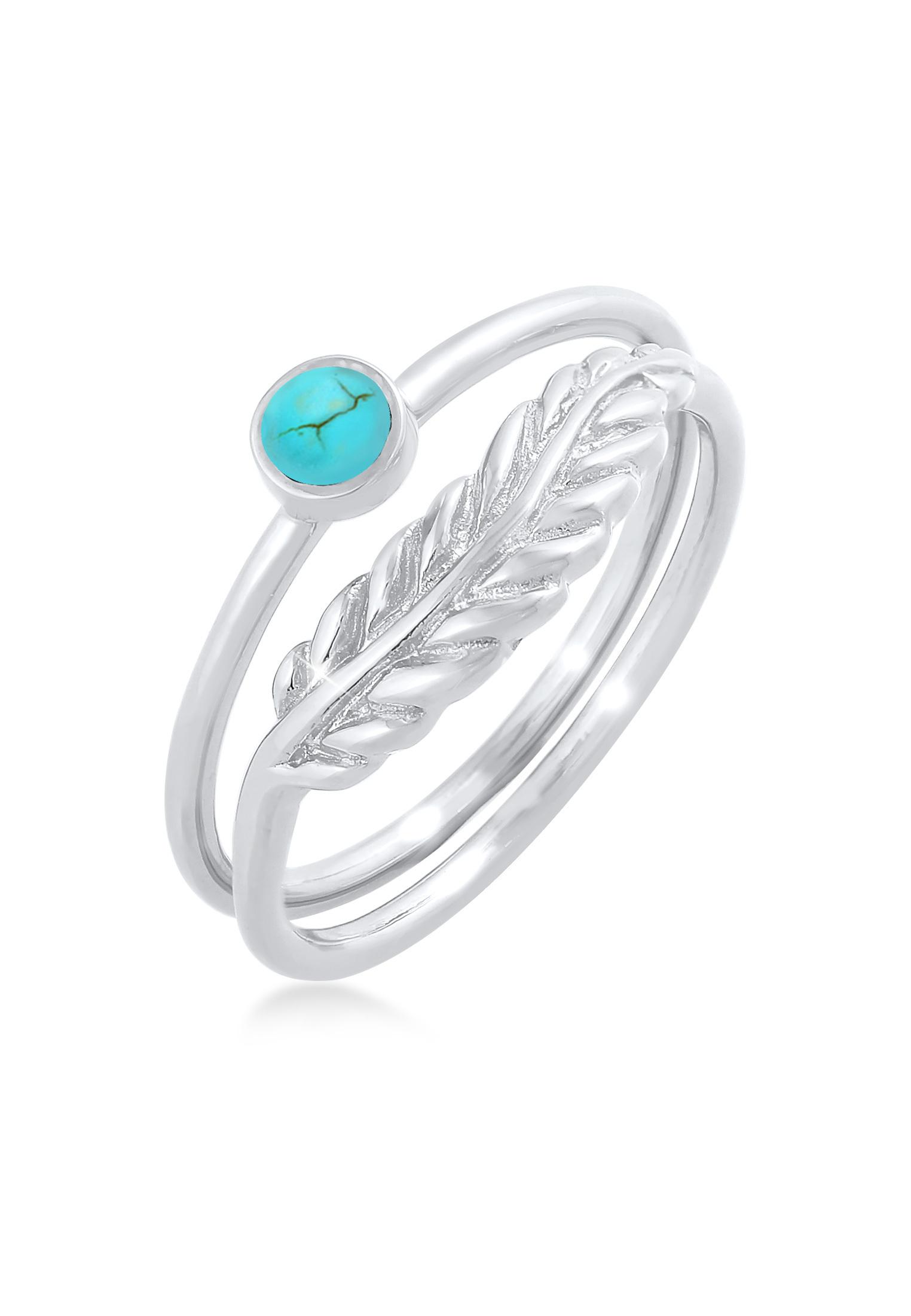 Ringset | Howlith ( Türkis ) | 925er Sterling Silber