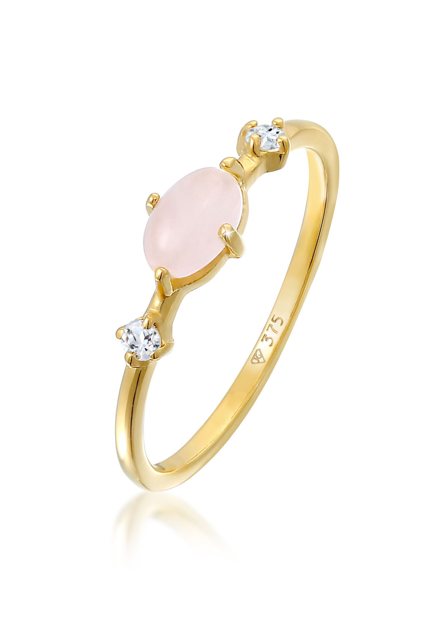 Ring | Quartz (rosa), Topas (weiß) | 375er Gelbgold