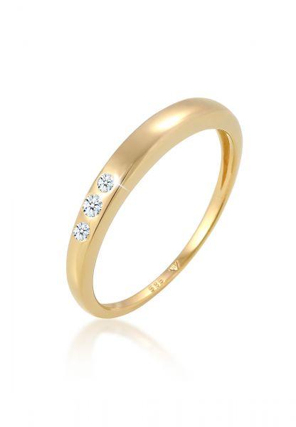 DIAMORE Ring Verlobung Trio Diamant (0.06 ct.) 585 Gelbgold