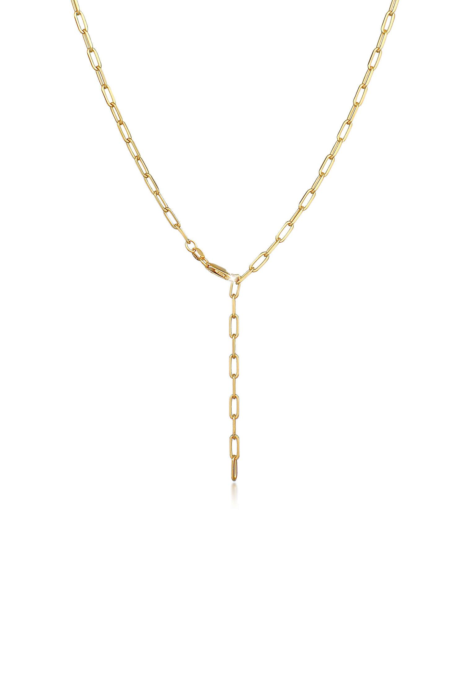 Glieder-Y-Halskette   925 Sterling Silber vergoldet