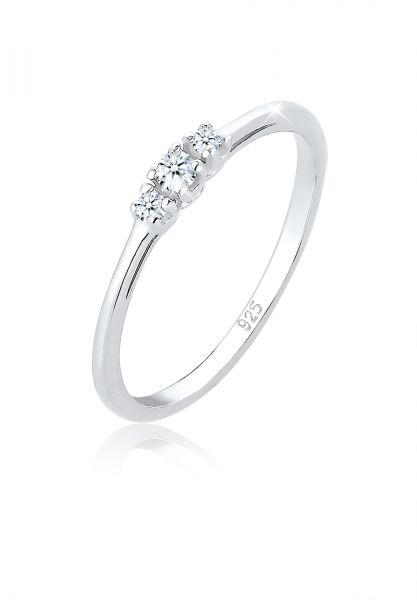 Elli PREMIUM Ring Verlobungsring Diamant (0.06 ct.) Zart 925 Silber