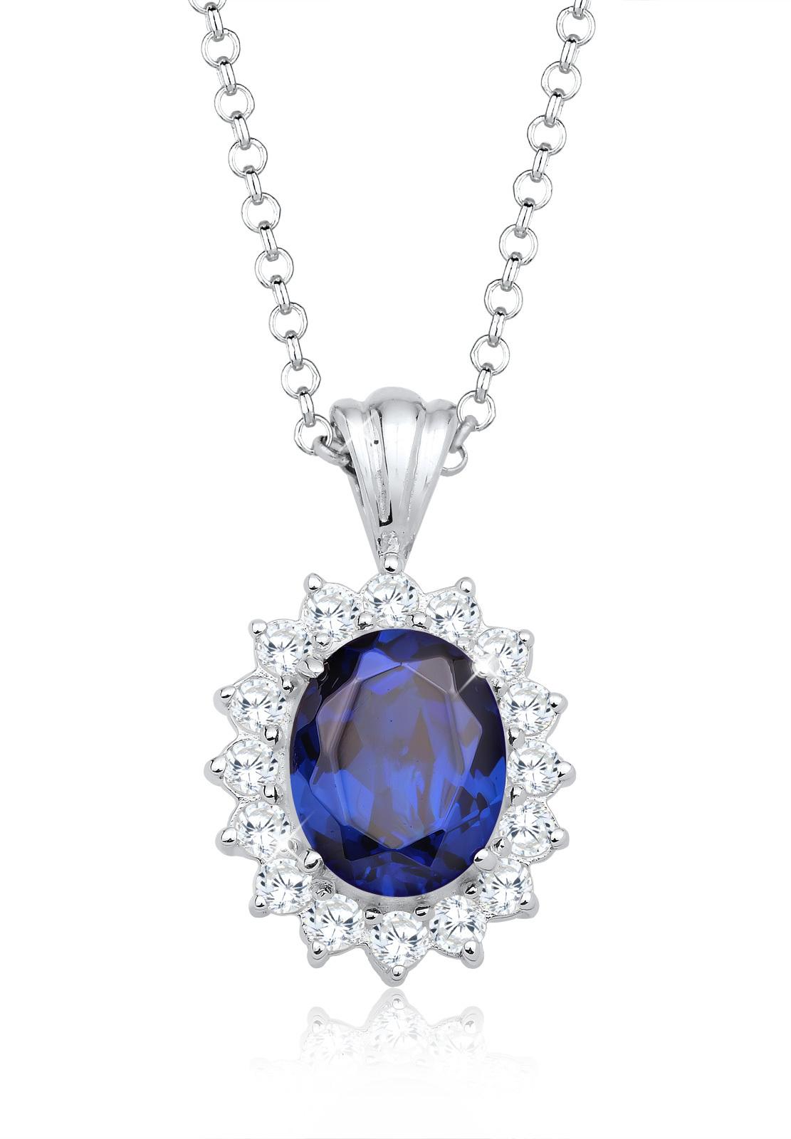 Halskette | Saphir ( Blau ) | 925er Sterling Silber