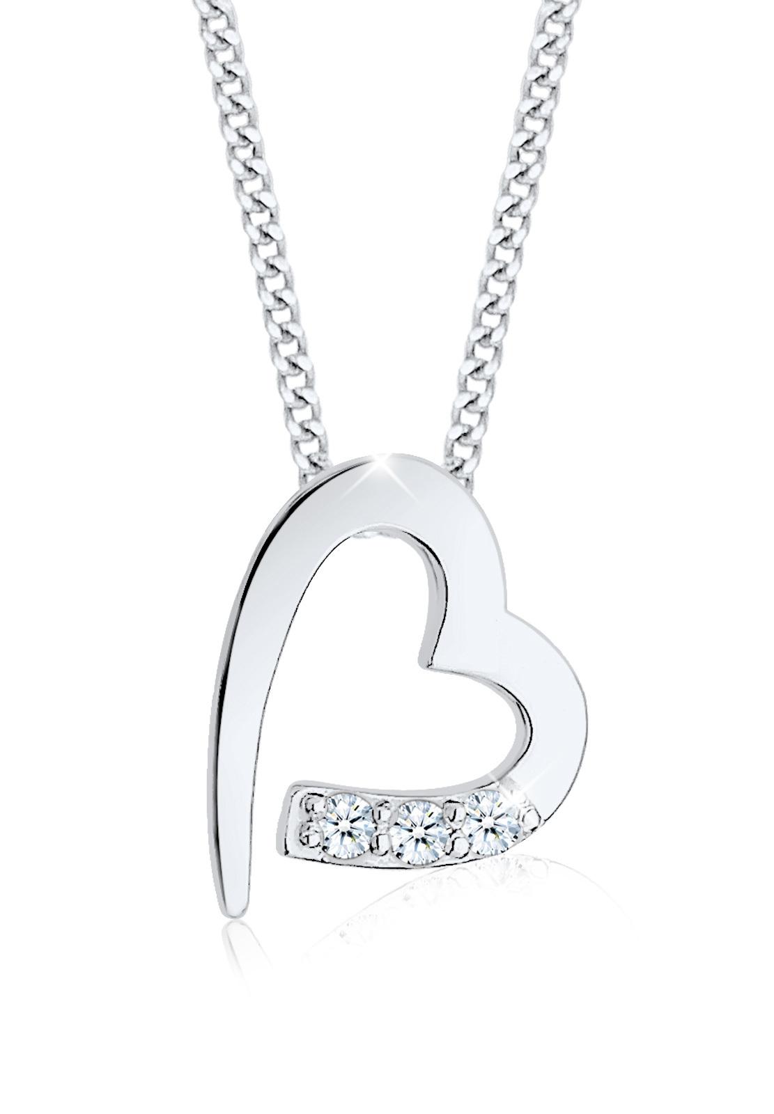 Halskette Herz   Diamant ( Weiß, 0,045 ct )   925er Sterling Silber