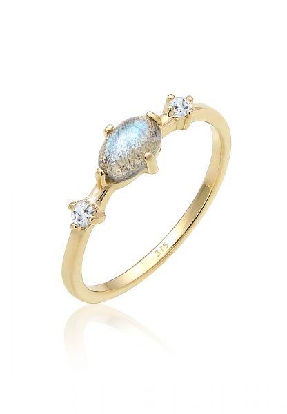 Elli PREMIUM Ring Bandring Labradorit Topas Edelstein 375er Gelbgold