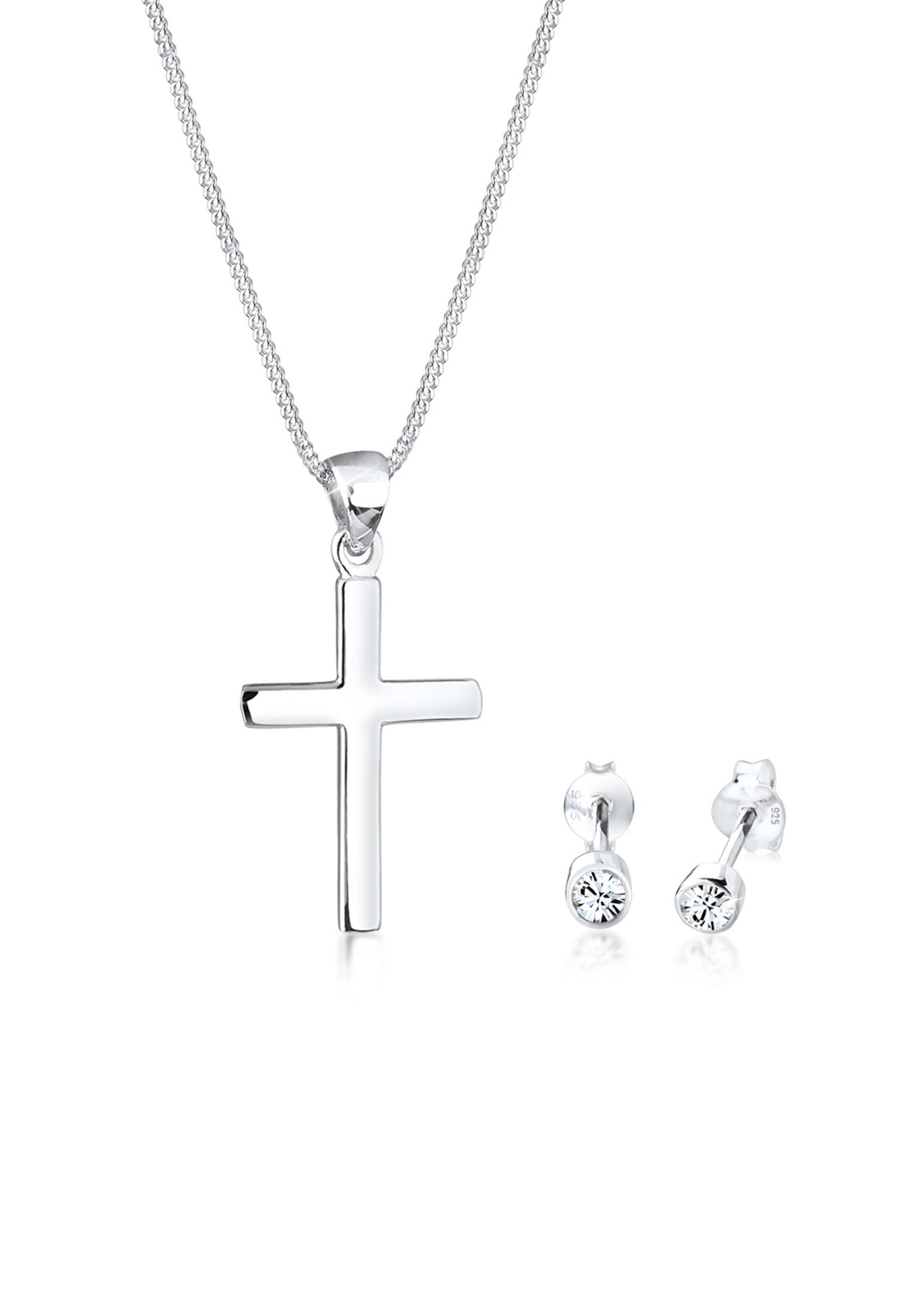 Schmuckset Kreuz | Kristall ( Weiß ) | 925er Sterling Silber