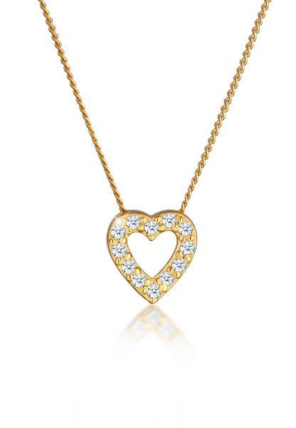 Elli PREMIUM Halskette Herz Klassisch Diamant (0.18 ct.) 585 Gelbgold
