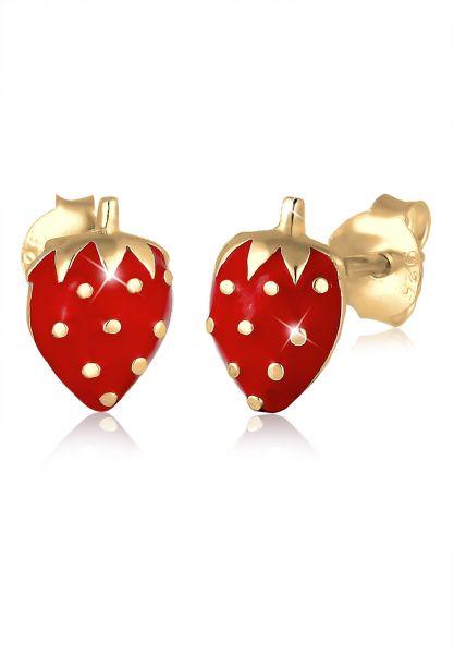 Ohrring Erdbeere | 925 Sterling Silber vergoldet