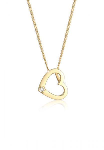 DIAMORE Halskette Herz Liebe Diamant (0.015 ct.) Love 585 Gelbgold