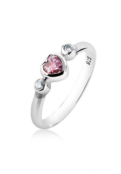 Nenalina Ring Bandring Herz Cubic Zirkonia Edelstein 925 Silber