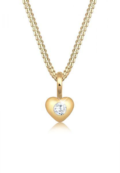 Elli PREMIUM Halskette Kinder Herz Geburt Taufe Zirkonia 585 Gelbgold