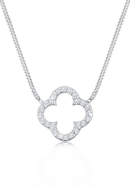 Halskette Kleeblatt | Zirkonia ( Weiß ) | 925er Sterling Silber