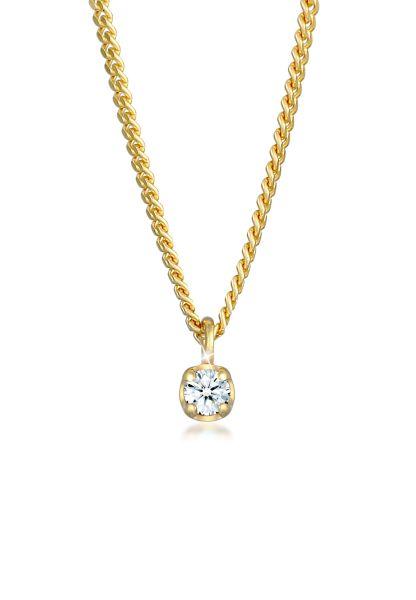 Elli DIAMONDS Halskette Solitär Diamant (0.03 ct.) Elegant 375 Gelbgold